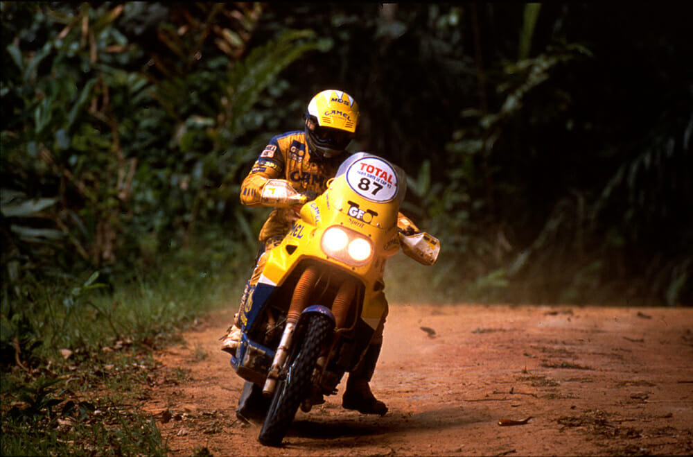 Beppe powering through the Angolan jungle during the massive 1992 Paris-Cape Town event on the Yamaha Super Tenere.