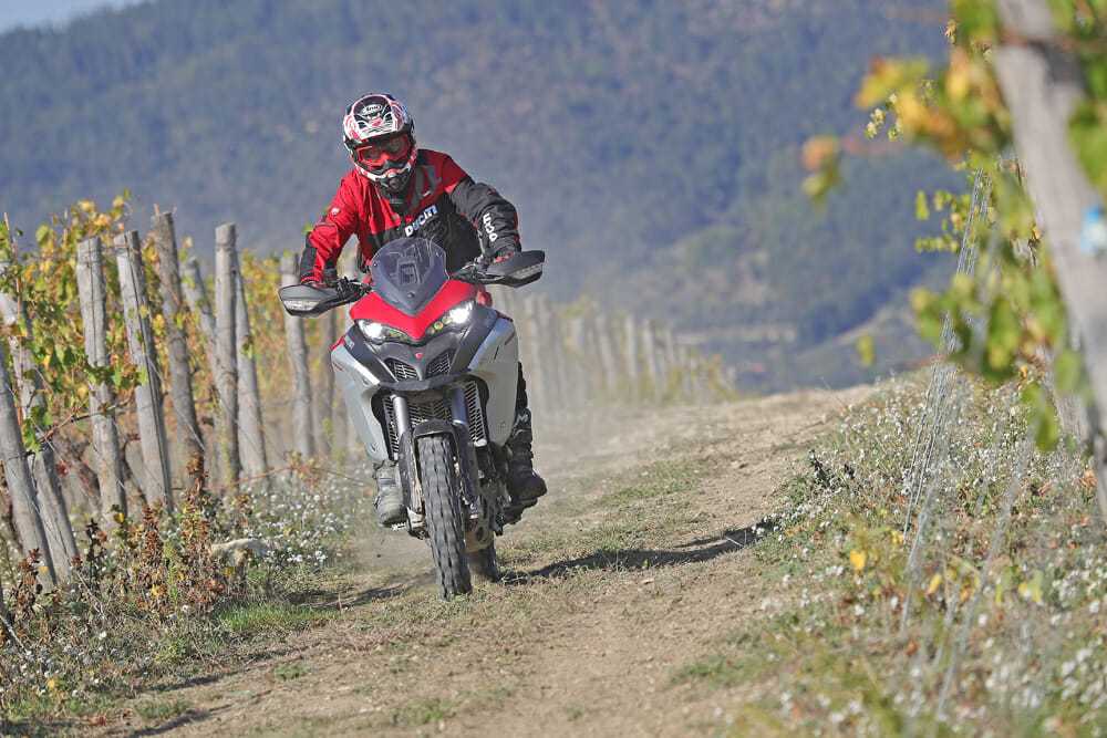 Beppe Gualini in his day job, putting machines like the Ducati Multistrada 1260 Enduro through its paces at the Ducati Riding Experience center.