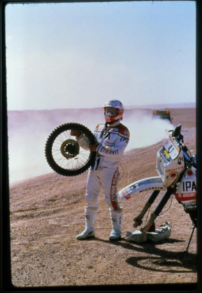 Racer Beppe Gualini Paris-Dakar, Libya, 1985.