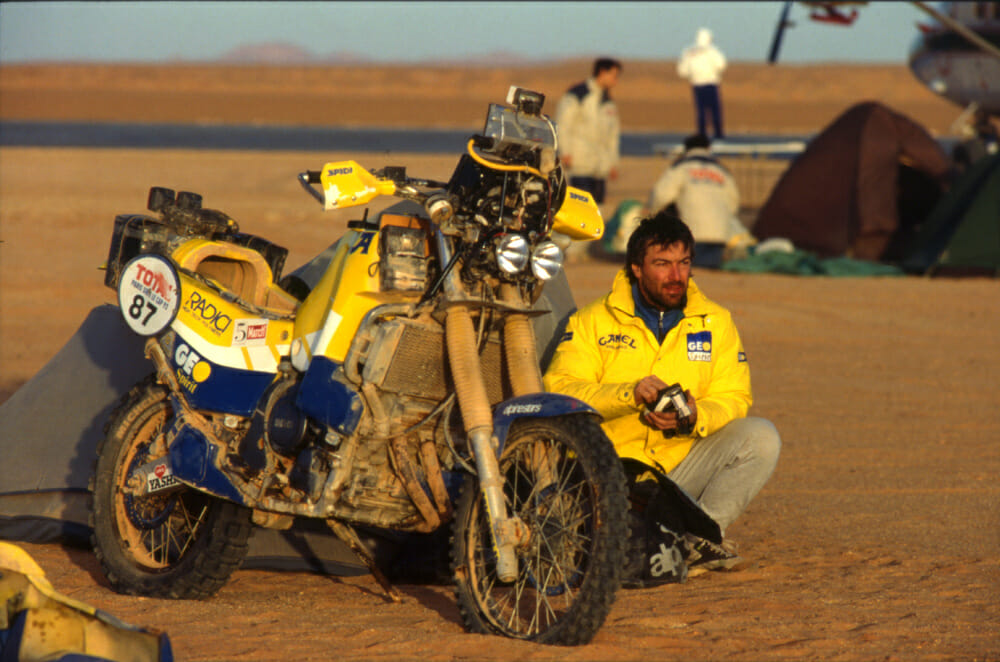 Beppe Gualini chills in the Namibian desert with the mighty Yamaha Super Tenere.