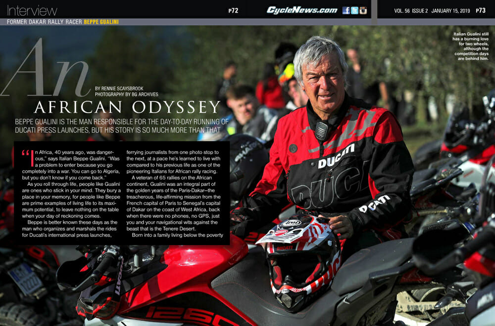 Beppe Gualini is the man responsible for the day-to-day running of Ducati press launches, but his story is so much more than that