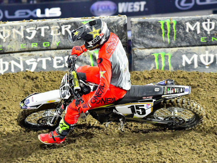 Dean Wilson led much of the 450SX main at Anaheim 1.