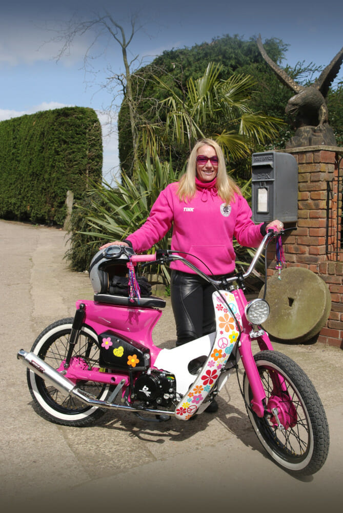 Hayley Vigor and her custom Honda Cub