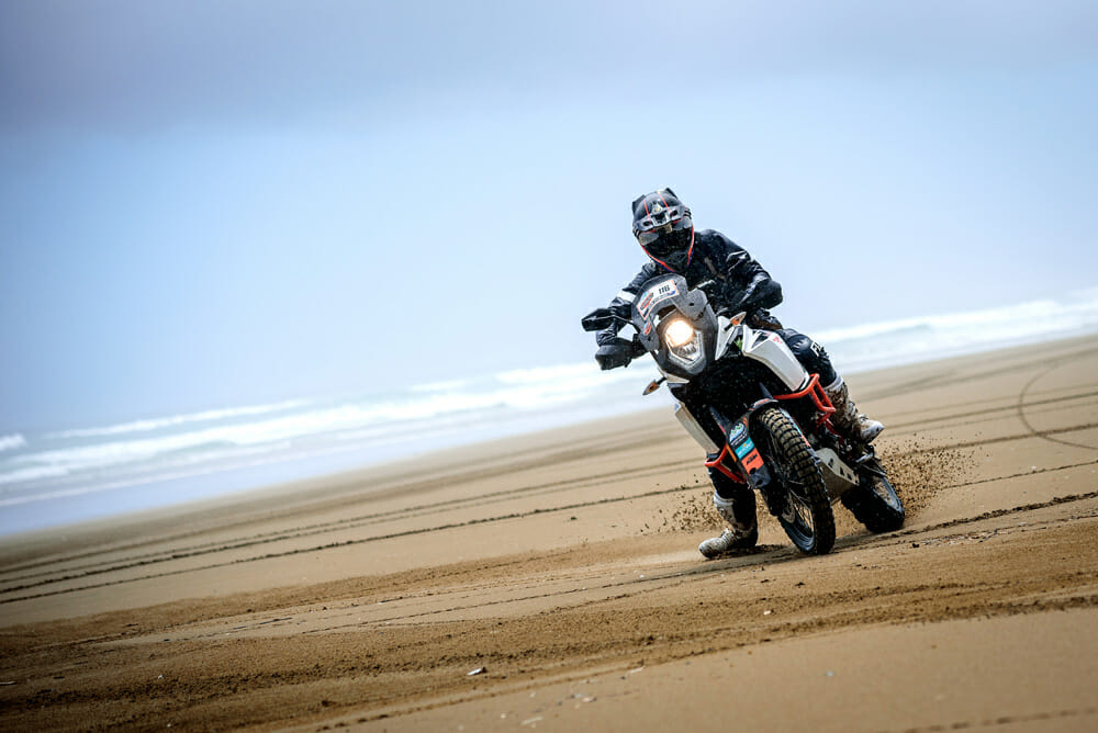 Sliding on sand at the KTM New Zealand Adventure Rallye