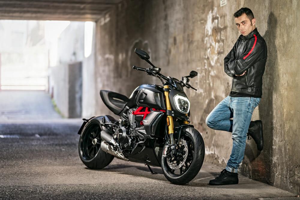Ducati MotoGP rider Danilo Petrucci and the Ducati Diavel 1260R.