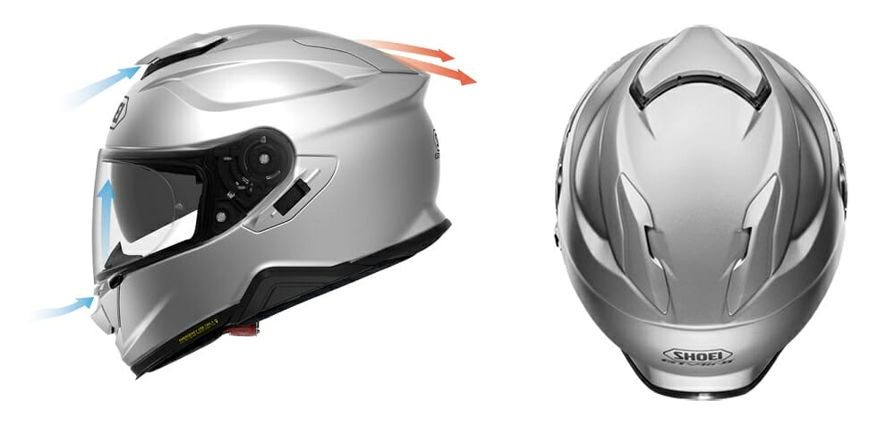 The all-new Shoei GT-Air II sport-touring helmet has a drop down shield and is intercom-ready