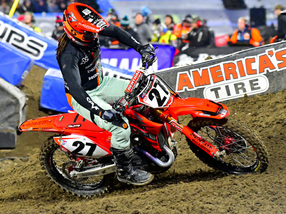 Malcolm Stewart suffered a broken femur at the Arizona Supercross.