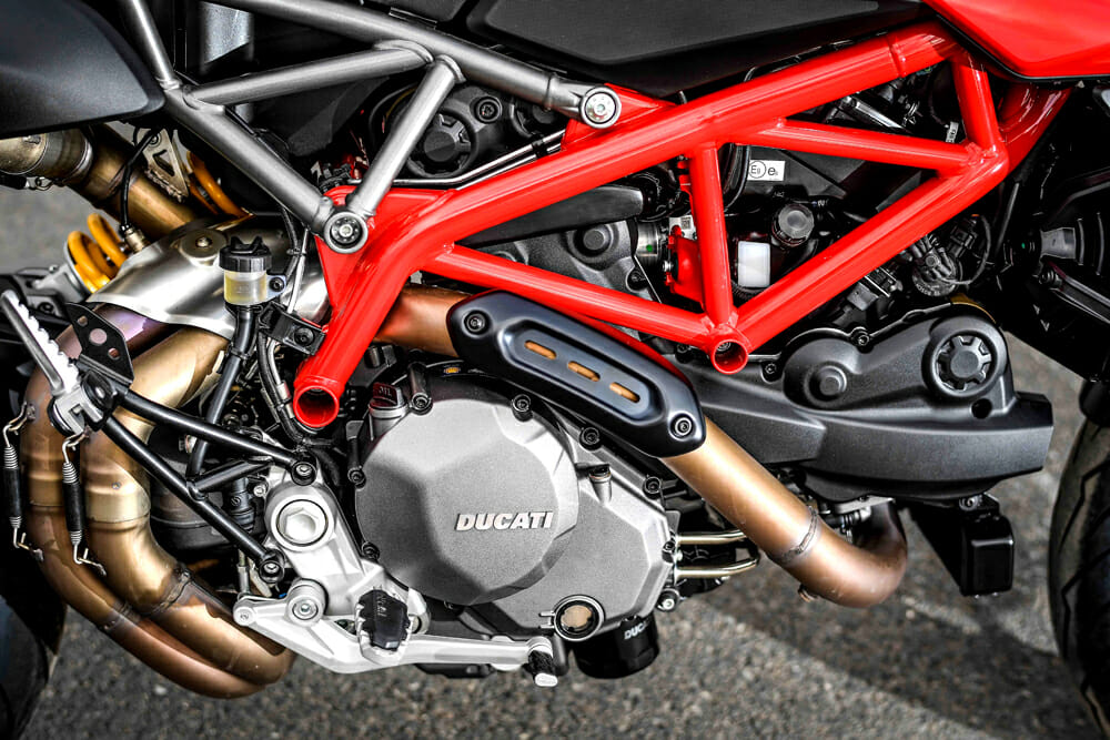 The steel trellis frame on the 2019 Ducati Hypermotard 950.