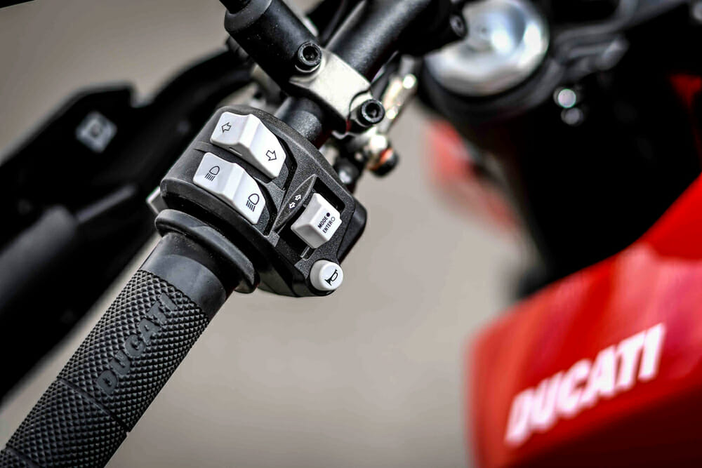 The left handlebar of the 2019 Ducati Hypermotard.