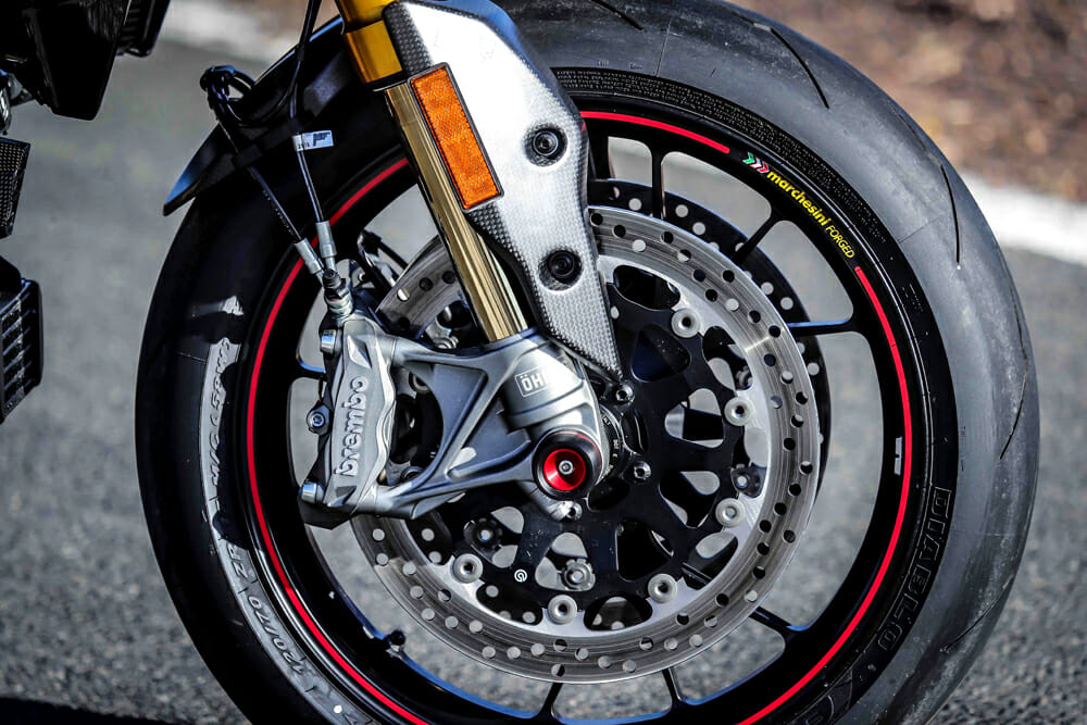 The 2019 Ducati Hypermotard 950S has forged Marchesini wheels.