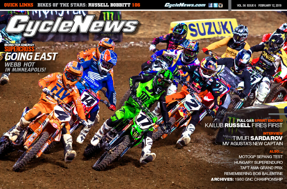 Cyle News magazine with coverage of the Minneapolis Supercross and South Carolina Full Gas Sprint Enduro.