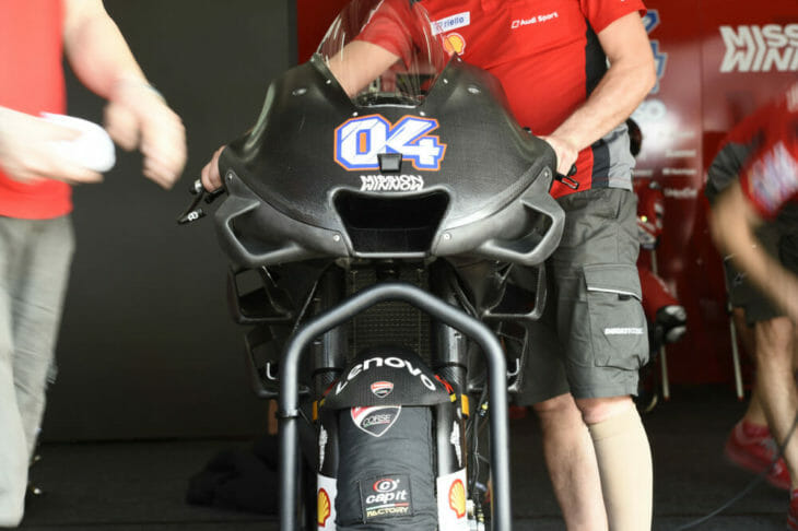 2019 MotoGP Test Results Ducati MotoGP test machine in the pits.