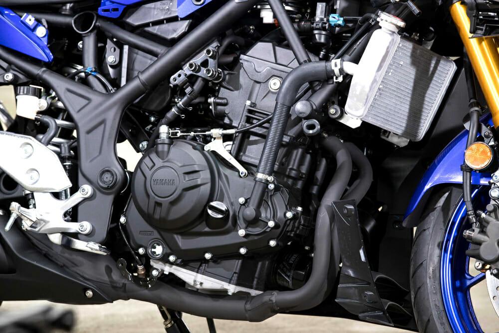 The 2019 Yamaha YZF-R3 has a 321cc motor.