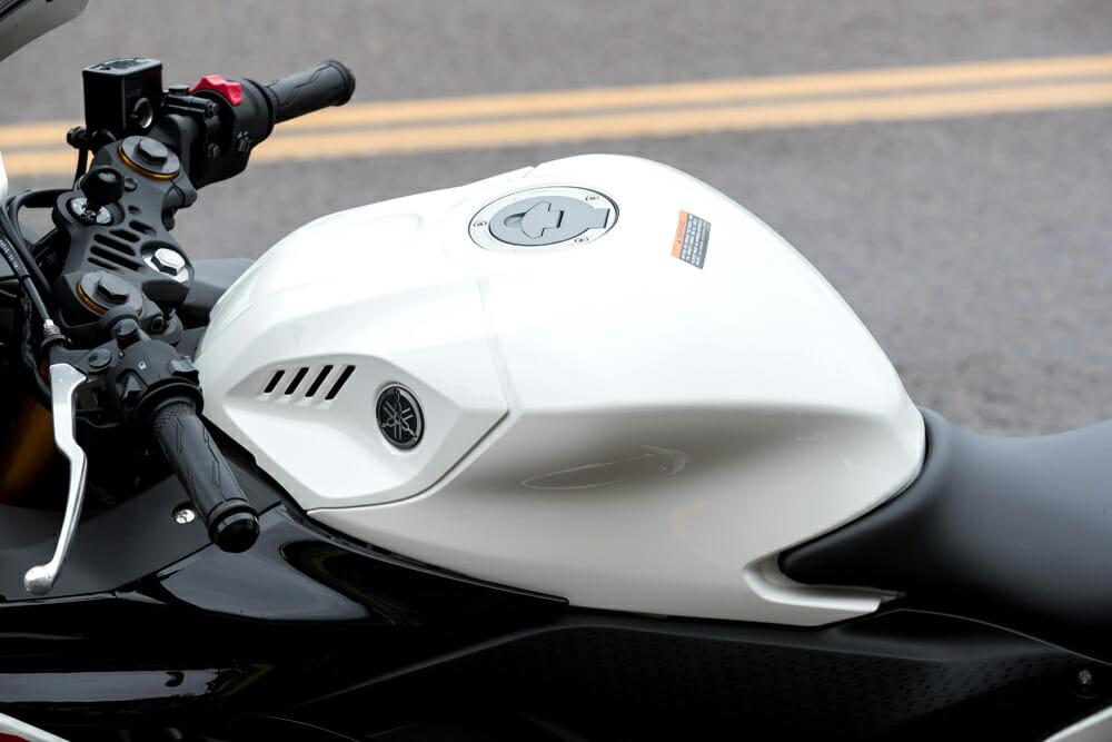 The 2019 Yamaha YZF-R3 has a 3.7 gallon tank.