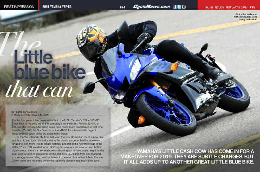 Rennie Scaysbrook rides and reviews the 2019 Yamaha YZF-R3