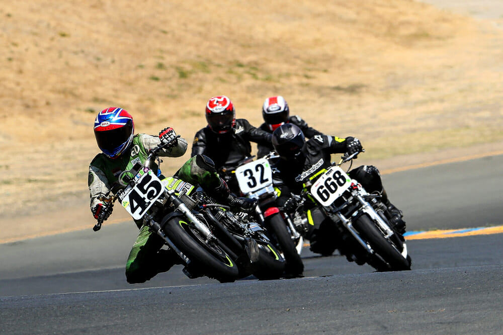 Old guys bashing old bikes! Mark Hoyt (45) leads Darrin Gauvin (668), Dale Quarterly (32) and our man Tom Montano.