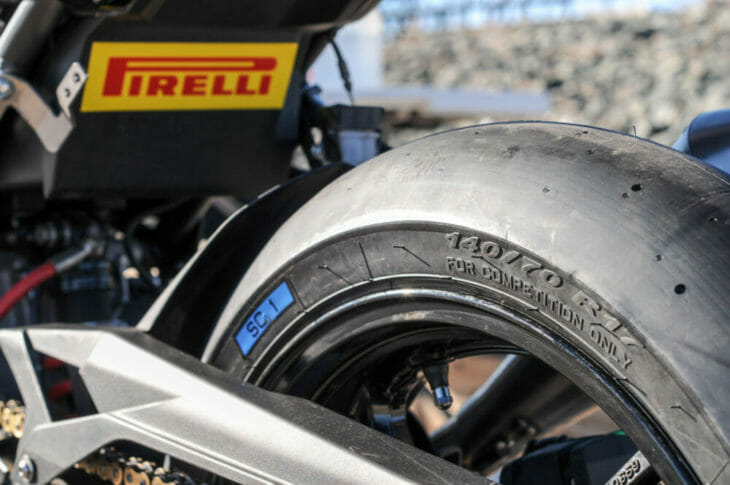 Pirelli Diablo Superbike Slicks bike at standstill