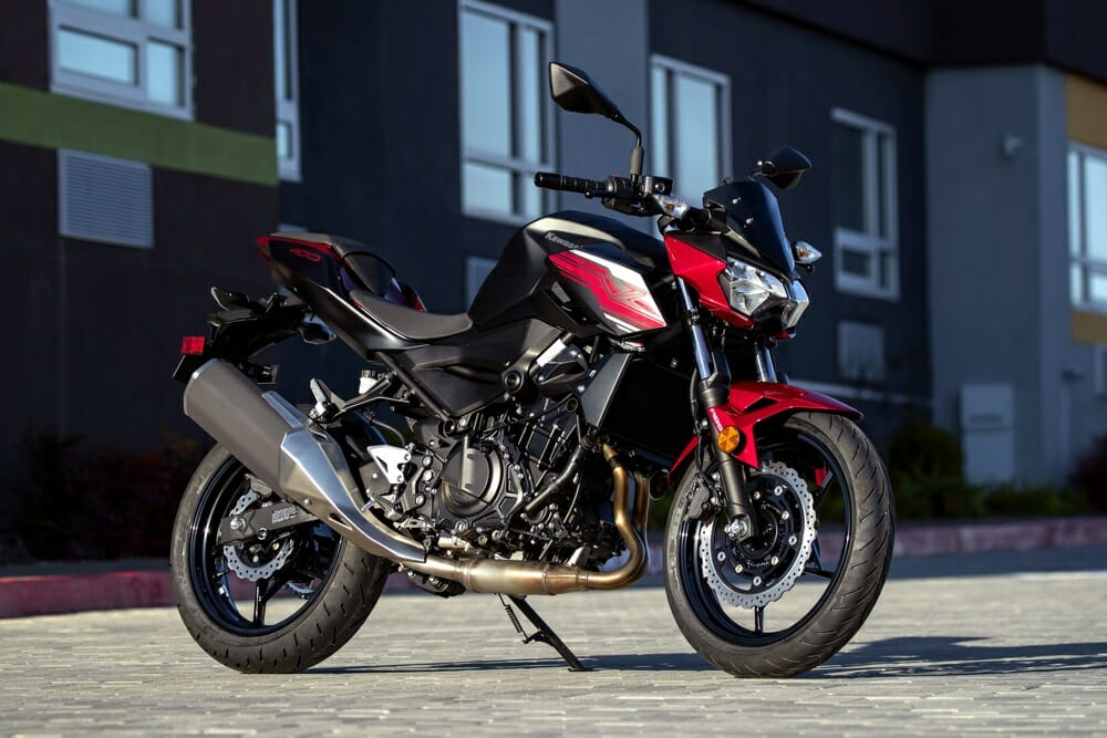 The 2019 Kawasaki Z400 ABS comes in Candy Lime Green and Candy Cardinal Red.