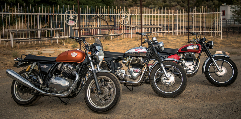 The 2019 Royal Enfield INT 650 and the original INT.