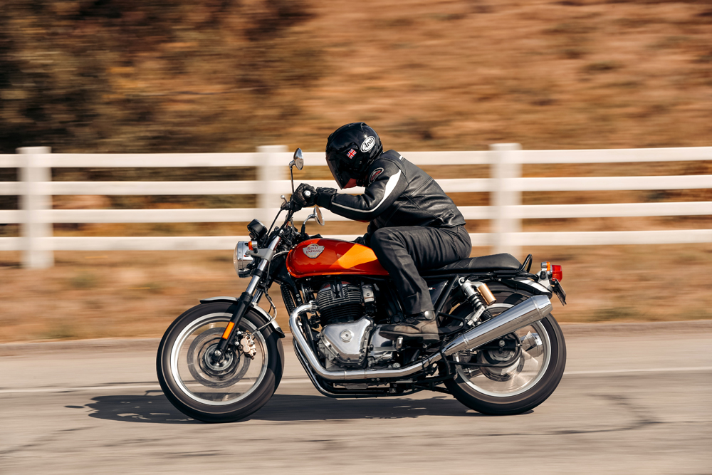 The INT 650 provides a more relaxed ride than the Continental, with weight distribution set at 50/50 front to rear.