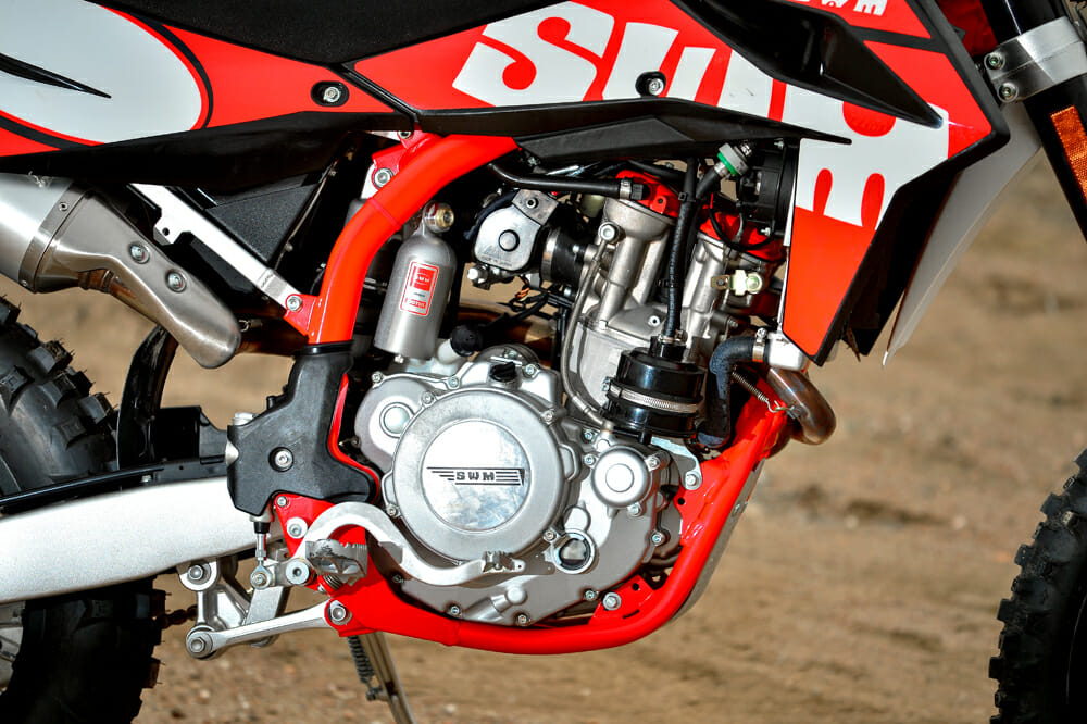The 2019 SWM RS 500 R has a DOHC engine