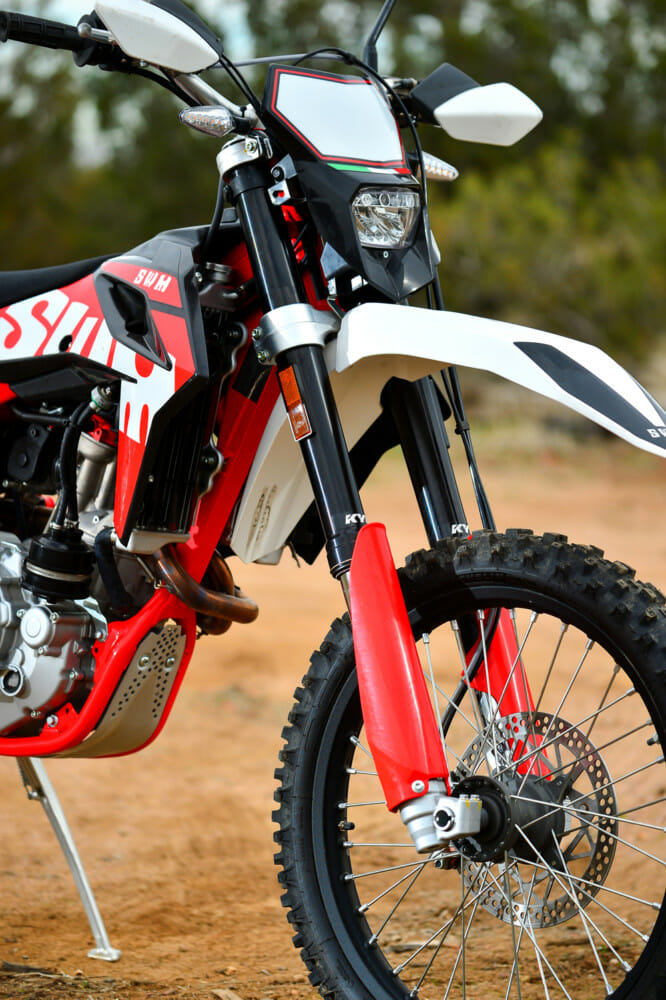 The forks on the 2019 SWM RS 500 R are fully adjustable.