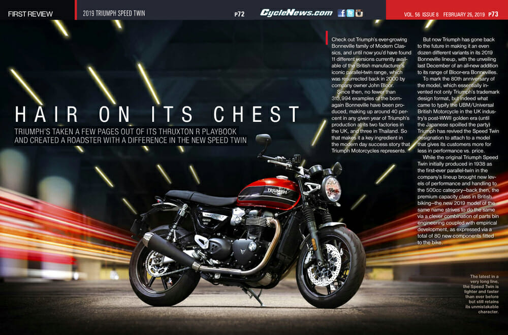 Alan Cathcart reviews the 2019 Triumph Speed Twin for Cycle News Magazine.