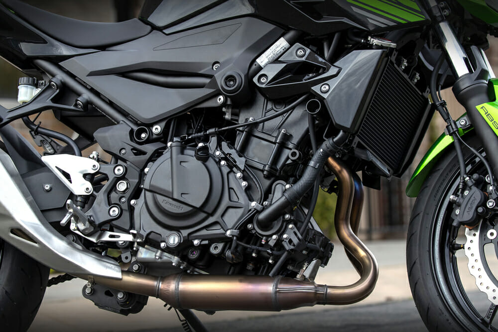 The 2019 Kawasaki Z400 ABS has a parallel-twin engine.