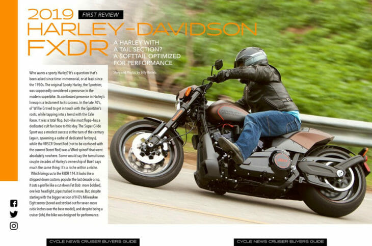 The Cruiser Buyer's Guide includes a test on the 2019 Harley Davidson FXDR 114.