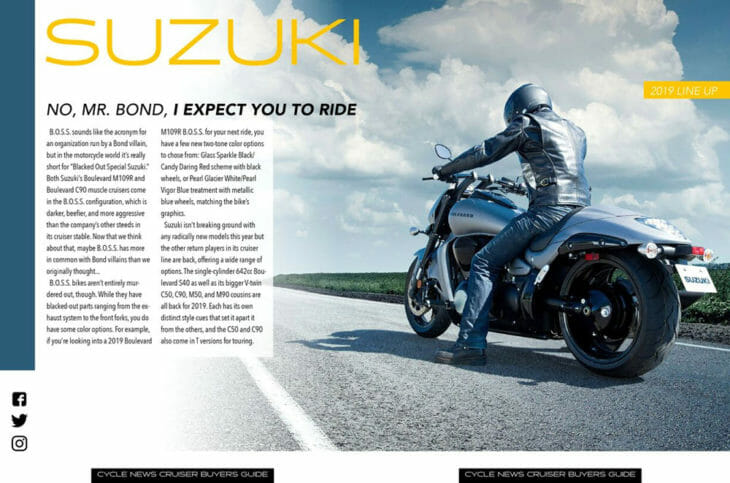2019 Cruiser Motorcycle Buyer's Guide Suzuki section.