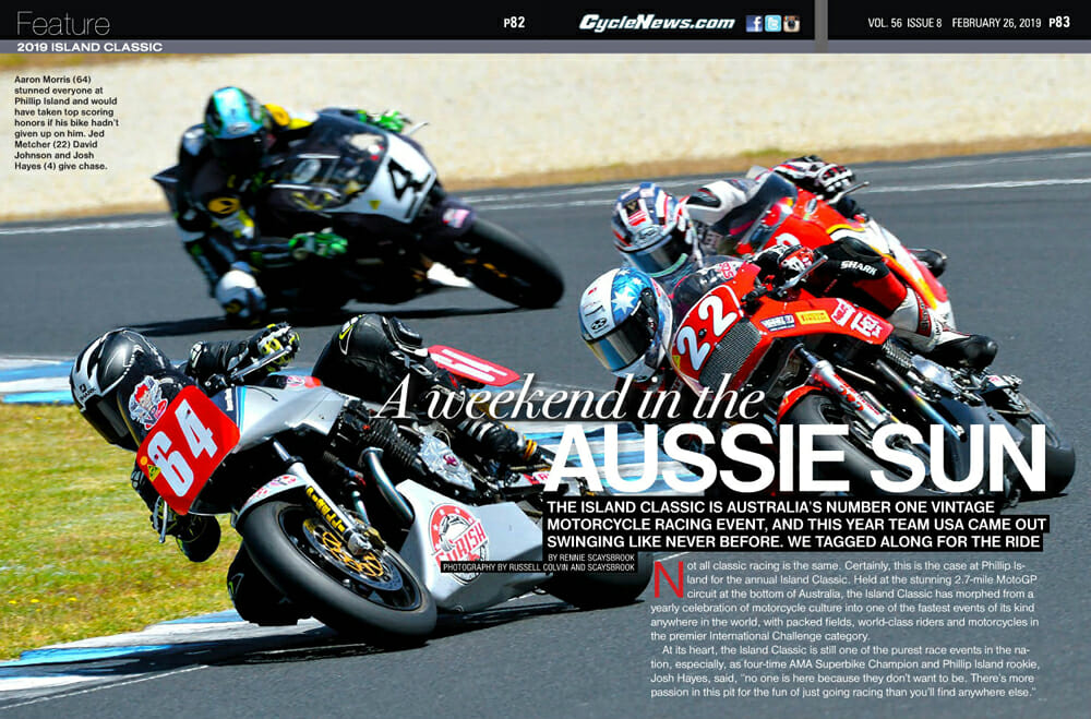 The Island Classic is Australia's number-one vintage motorcycle-racing event, and this year Team USA came out swinging like never before.