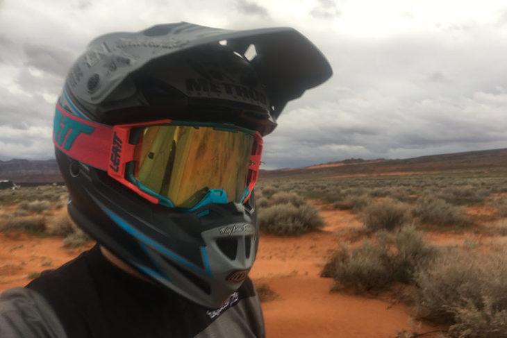 Leatt Velocity 6.5 goggle on a rider with a helmet.