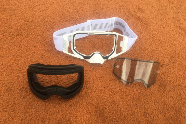 Leatt Velocity 6.5 goggle disassembled.