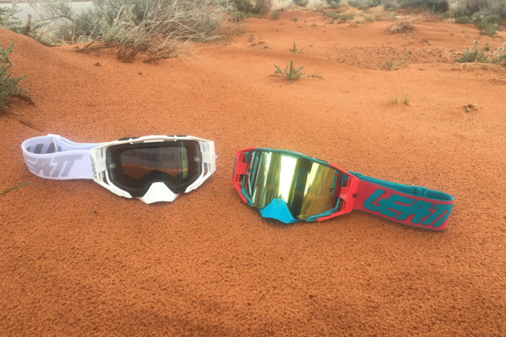 Leatt Velocity 6.5 goggles in white and red-teal color options.