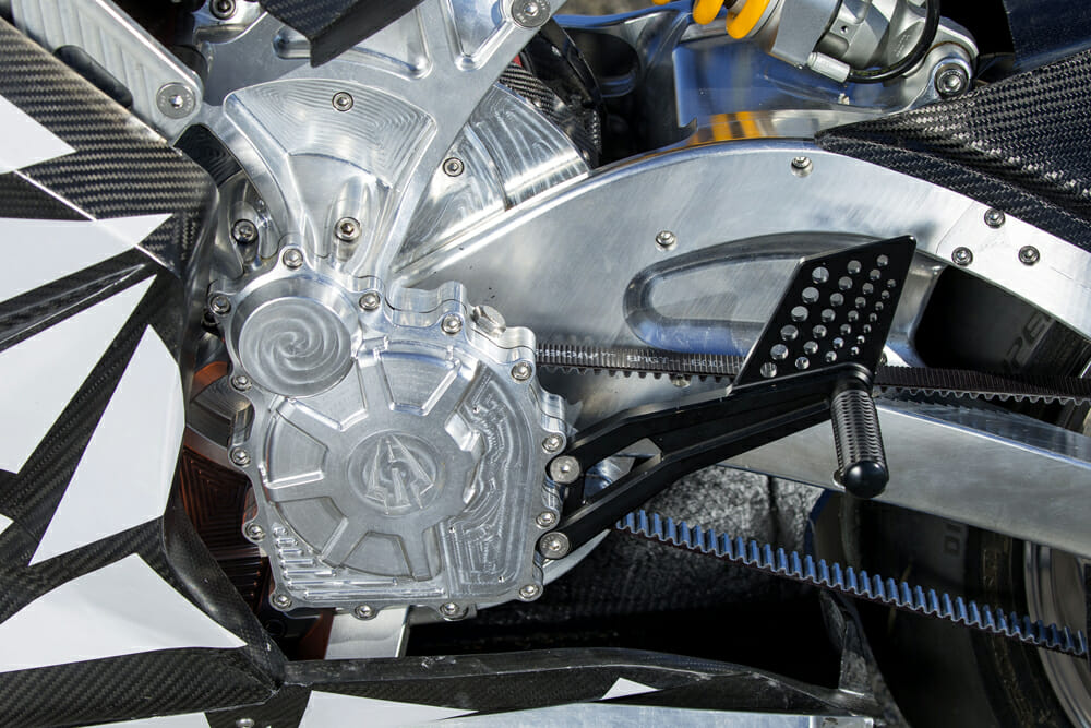 The Lightning Strike Prototype has a 150V liquid-cooled three-phase AC induction motor.