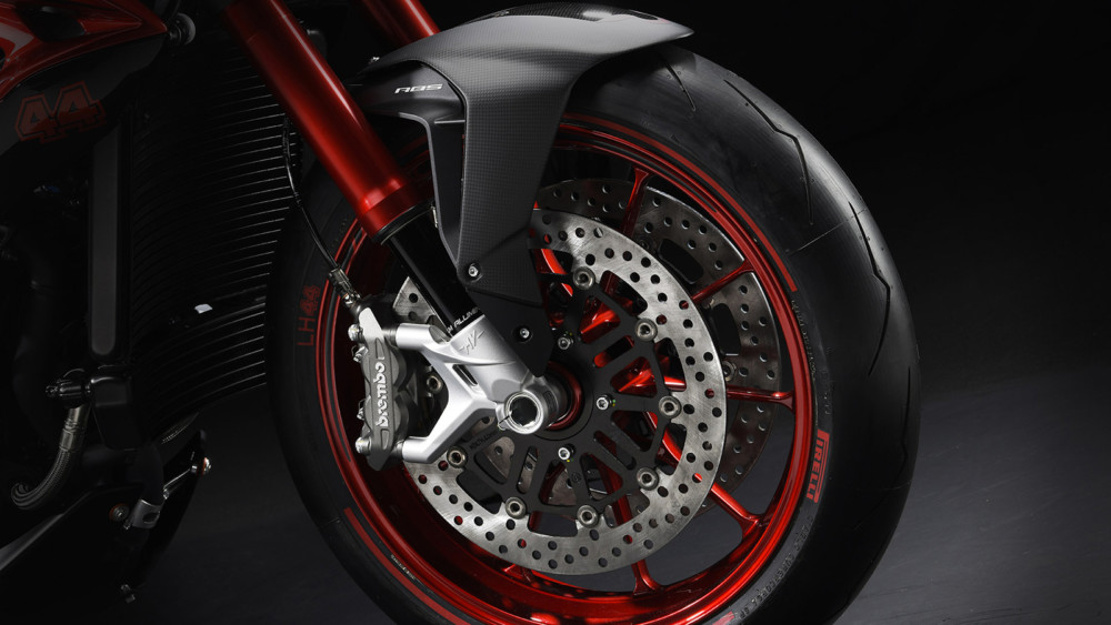The MV Agusta Brutale 800 RR LH44 was born from the world-renowned collaboration with Formula One champion Lewis Hamilton.