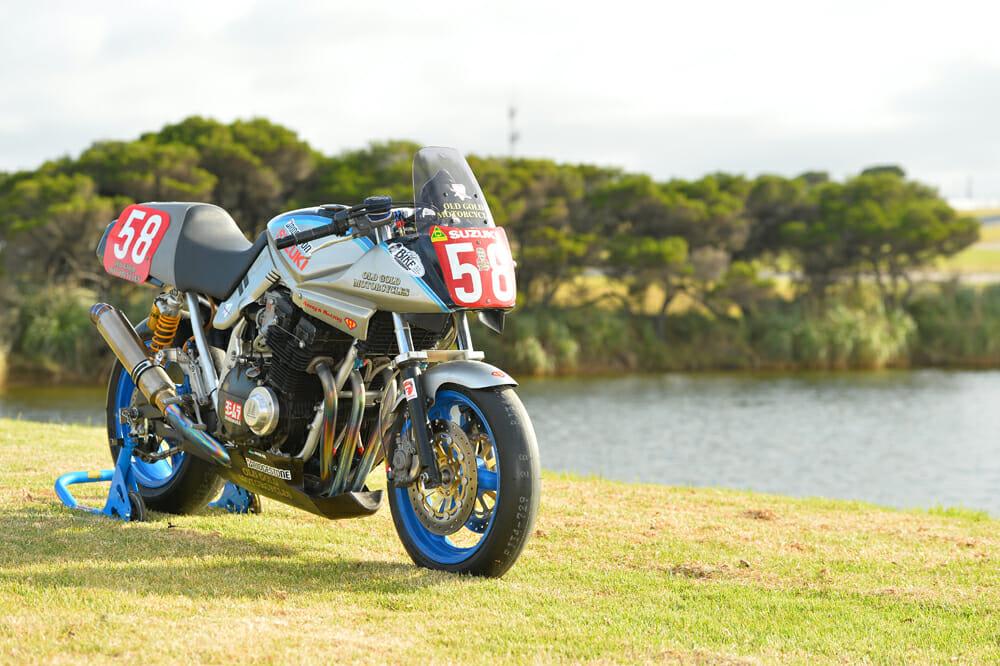 The 35-year-old Suzuki Katana 1100 that Rennie Scaysbrook raced at the 2019 Island Classic
