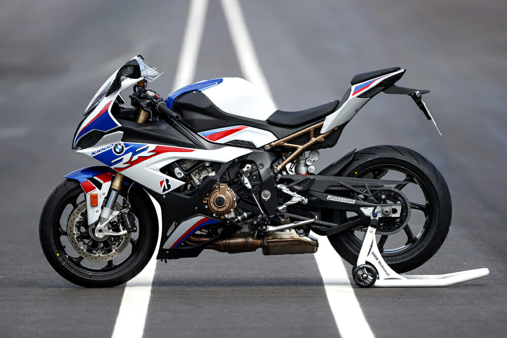 The 2019 BMW S 1000 RR features a new stainless-steel exhaust system weighing 2.9 pounds less, with twin catalysts, electronic exhaust valve, and dual lambda sensors.