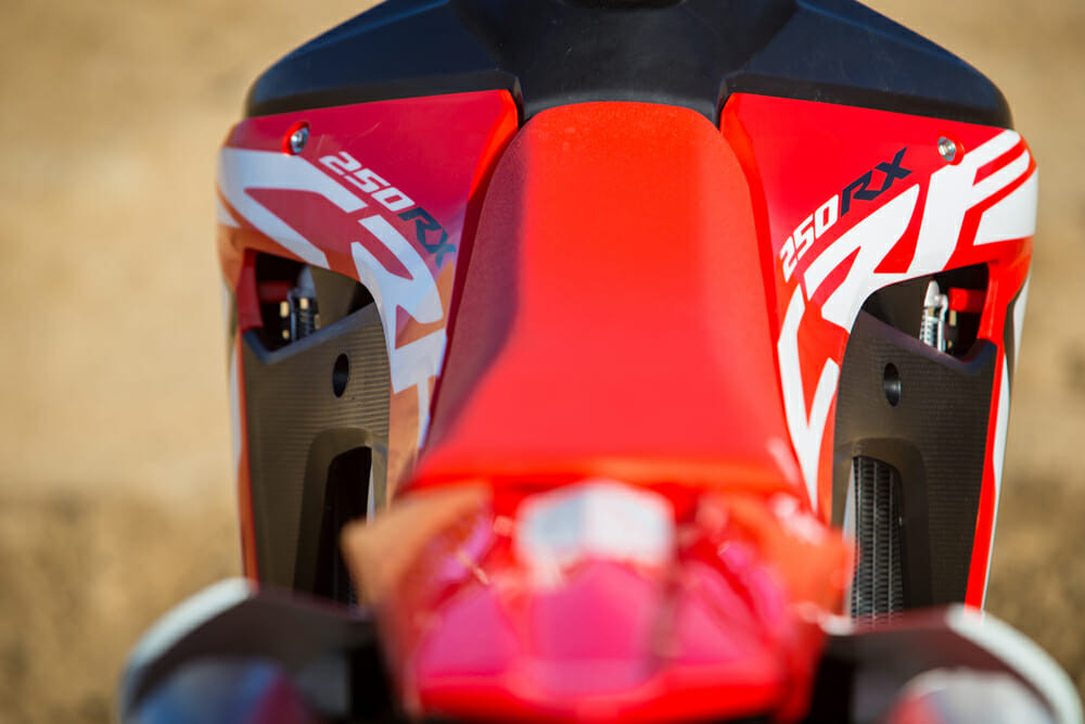 The stock tank on the 2019 Honda CRF250RX holds 2.2 gallons.