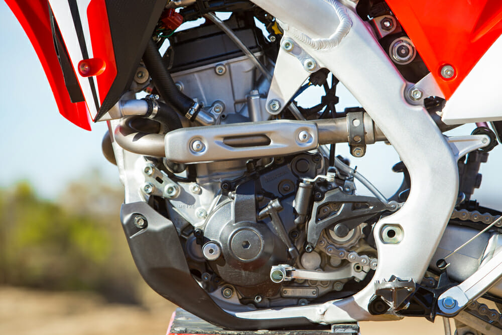 The 2019 Honda CRF250RX's 249cc, DOHC engine with dual exhaust ports comes straight off the MX model. However, it's been tuned for improved tractability at slower speeds.