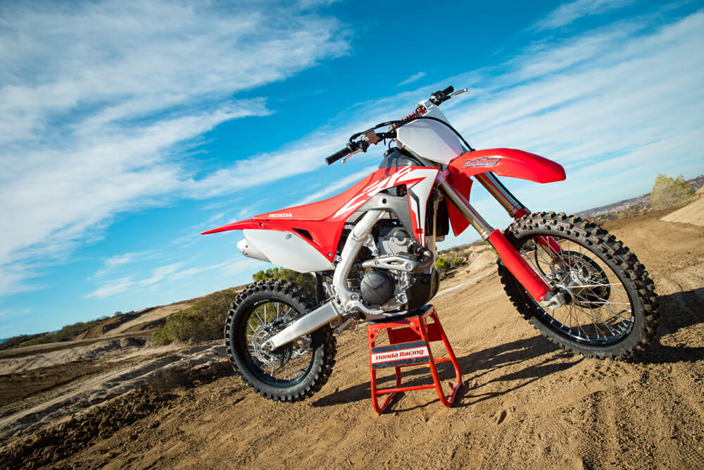 The 2019 Honda CRF250RX has a larger fuel tank than the 2019 Honda CRF250R