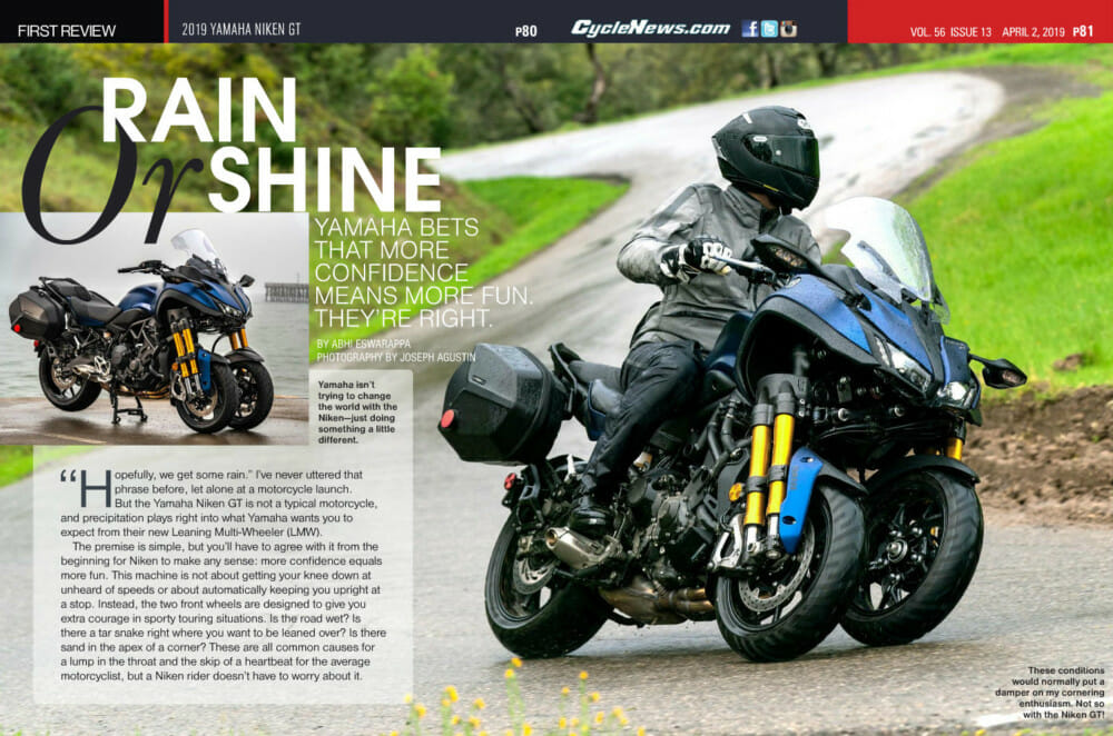 We review the 2019 Yamaha Niken GT in the wet and in the dry.