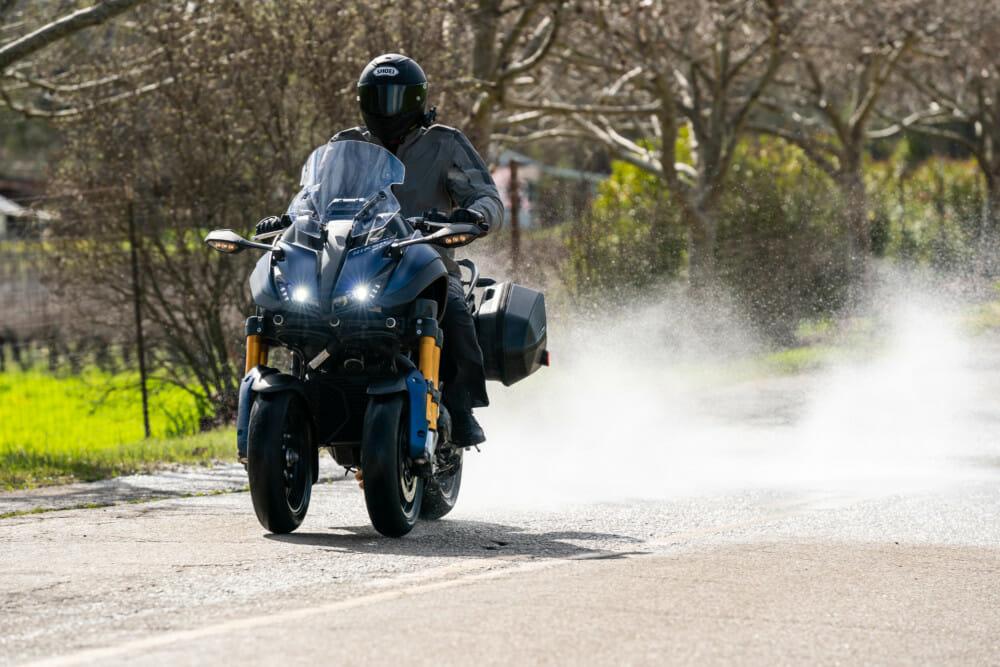 The 2019 Yamaha Niken GT is confidence-inspriring in the rain.