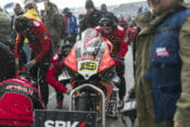 Following a snow storm hitting the TT Circuit Assen early in the afternoon during the WorldSBK grid, Race 1 start had been delayed twice.