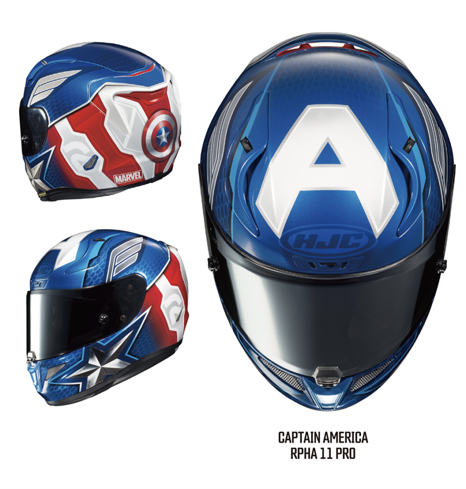 Captain America graphics on HJC's premium sport helmet