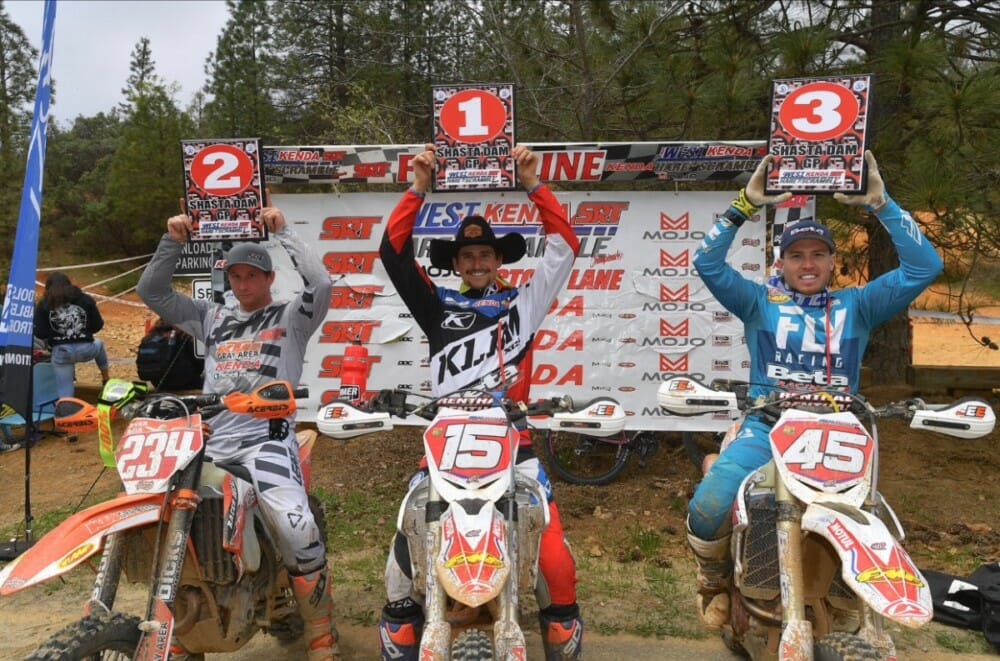Factory Beta's Max Gerston tops the Pro podium next to Devan Bolin in 2nd and Factory Beta's Joe Wasson in 3rd at the Shasta Dam Grand Prix.
