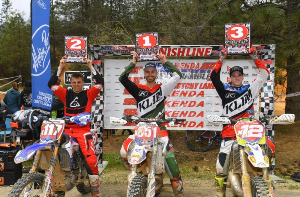 The Pro 250 podium was topped by Factory Beta's Zane Roberts next to Dillon Sheppard in 2nd and Kyle Hutcheson in 3rd at the Shasta Dam Grand Prix.