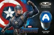 Captain America graphics on HJC's premium sport helmet