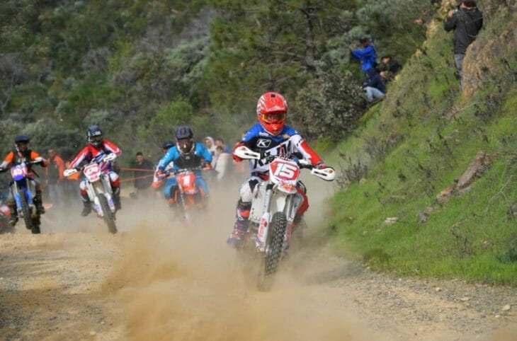 Gerston leads the pack after the holeshot with Anson Maloney, Jason Hurst, and Justin Bonita close behind at the Shasta Dam Grand Prix.