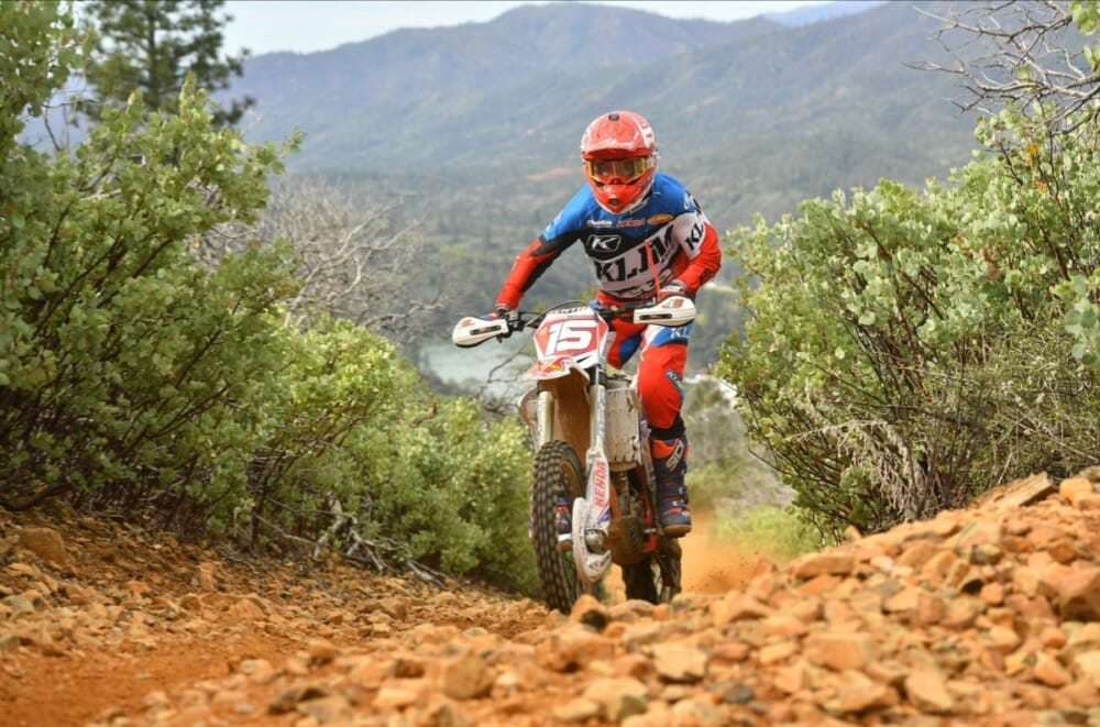 Factory Beta's Max Gerston held an average 5 minute lead on 2nd place. Gerston is currently sitting 1st in points for the 2019 AMA West Hare Scrambles Championship.